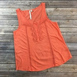 LC Lauren Conrad Peachy Orange Lacy Tank Top (M)